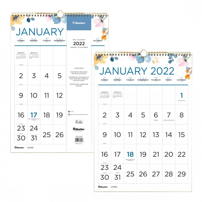 Spring Monthly Wall Calendar 2022
