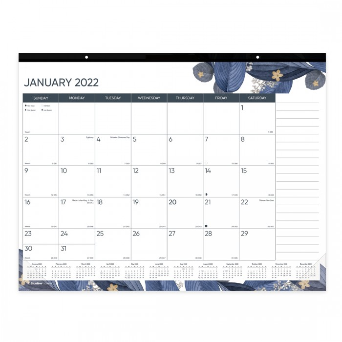 Gold Detail Monthly Desk Pad 2022